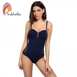 Andzhelika One Piece Suits Push Up Swimwear Women Sexy Solid Bandage Bathing Suit Beach Wear For Women Thumbnail