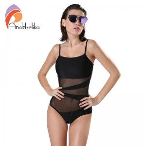 Andzhelika Swimwear Women One Piece Swimsuit Mesh Backless Bodysuit Bathing Swim Suit For Women Thumbnail