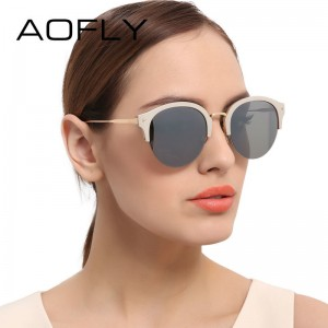 AOFLY Fashion Vintage Cat Eye Sunglasses Luxury Brand Glasses Coating Mirror Lenses Shades Gafas De Sol UV400 Lens