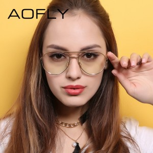 AOFLY Vintage Women Eyeglasses Alloy Metal Frames Women Brand Designers Clear Lens Plain Glasses Transparent Eyewear