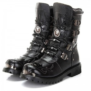 Army Boots Genuine Military Leather Metal Gothic Motorcycle Top Quality For Men Thumbnail