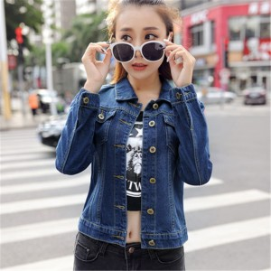 Autumn All Match Short Denim Jacket Women Vintage Casual Single Breasted Jeans Coat Two Pockets Decorated Outwear