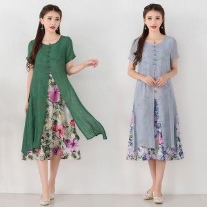 Autumn Fashion Long Dress Vintage Printed Cotton Linen Summer Autumn Style Party Casual Female Dress