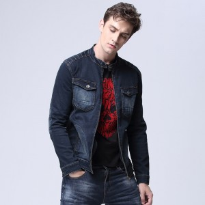 Autumn Mens Classic Trucker Jacket with Zipper Placket Dual Flap Chest Pockets Stand collar Denim Coat