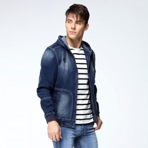 Autumn New Arrival Mens Hat Denim Jacket Rib Cuff Wear Casual Hoodies Jeans Jacket Size Jeans Male Outwear
