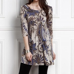Autumn Spring Vintage Pretty Dress Women Three Quarter Sleeve Print Floral Women Dress Elegant Dresses Vestidos