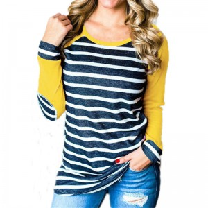 Autumn T Shirts Women Fashion Striped Patchwork Baseball Shirt Casual Long Sleeve Splice Camisetas Mujer Plus Size