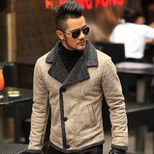 Autumn vintage old leather jacket men wool lining men warm fur collar jacket Mens Faux leather short jacket fur coat