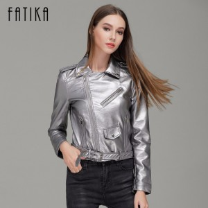 Autumn Winter Fashion 7 Colors Women Faux Leather Jacket and Coat Flying Motorcycle Bomber Jackets Outwear with Belt