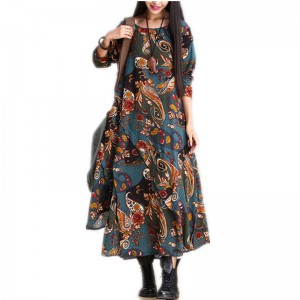 Autumn Winter Fashion Long Loose Party Outdoor Dress Casual Loose Fit Retro Vintage Printed Dress For Women