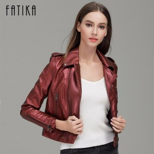 Autumn Winter Fashion Women Faux Leather Jackets and Coats Zipper Flying Motorcycle Jacket Outwear With Epaulet