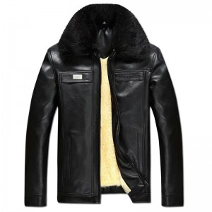 Autumn Winter Faux Fur Collar PU Leather Jacket men Thick Warm Velvet mens Coat Vintage men jacket Casual Motorcycle