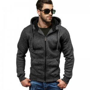 Autumn Winter Hoodies Men Zipper Cardigan Sweatshirts Long Sleeve Slim Fit Cotton Sportswear Solid Casual Tracksuit