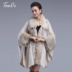 Autumn Winter Long Luxury Cardigan Fox Fur Collar Cashmere Sweater Cardigan Women