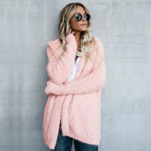 Autumn Winter New Women Sweater Cardigan Loose Coat Knit Soft Long Sleeve Hooded Sweater Jacket Cardigan Tops