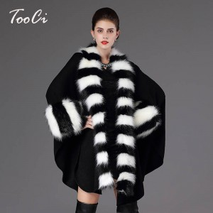 Autumn Winter Warm Loose Poncho Casual Cloak Long Knitted Cardigan Fur Collar