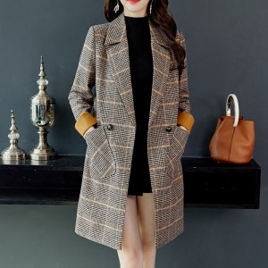 Autumn Winter Wool Women Plaid Pockets Blends Office Work Long Coats Fashion Brand Lady Slim Lapel Long Sleeve