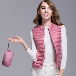 Autumn Women White Duck Down Vest Ultra Light Down Vest Jacket Winter Round Collar Peter Pan Slim Sleeveless Coat