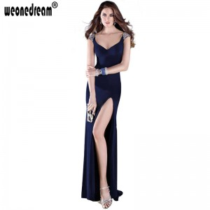 Beading Evening Gown V Neck Floor Length Prom Gown New Fashion Formal Dress Tank Wedding Dress For Women Thumbnail