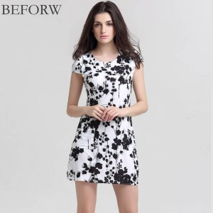 Beforw Brand Spring Summer Sexy Women Dress Casual Short Sleeve Ink Printed For Women Thumbnail