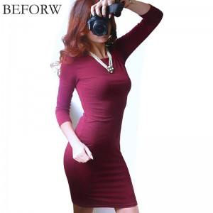 Beforw Winter Autumn Cotton Dress Long Sleeve Knee Length Vintage Maxi For Women Thumbnail