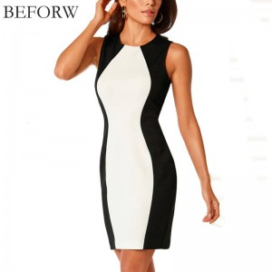 Beforw Women Dress Sleeveless White Spicy Vintage Office Formal Dress For Women Thumbnail