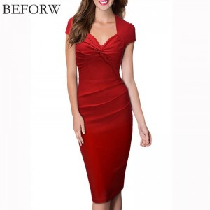 Beforw Women Dress Summer Sexy Solid Color V Neck Pencil Dress Retro Office For Women Thumbnail