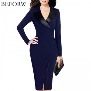 Beforw Women Sexy Pencil Dress Autumn Winter Solid Color Office Casual Vintage Dress Thumbnail
