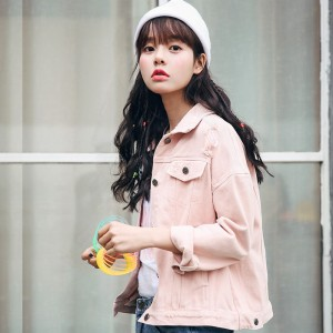 Beige Pink Army Green Denim Jacket Women New Korean Fashion Casual Loose Jeans Jackets Pure Color BF Style