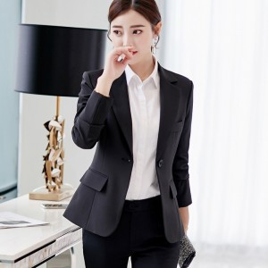Black Single Button Ladies Blazers Women Spring Autumn Office Lady Korean Suit Jackets Blazer Femme Office Tops Coats