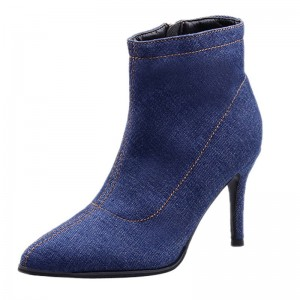 Blue Denim Boots for Women High heels Ladies Boots Ankle Zipper Solid Color Pointed Toe Thick heel and Thin Heels Shoes
