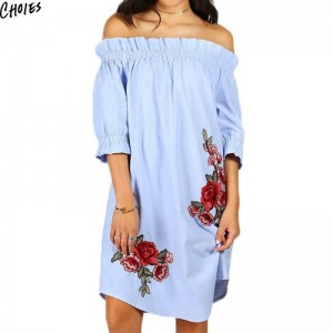 Blue Off Shoulder Embroidery Floral Ruffle Trim Tunic Mini Dress Summer Three Quarter Sleeve Casual Dress