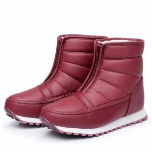 Boots women convenient zipper ladies shoes woman cozy plush keep warm snow boots pu leather waterproof winter boots