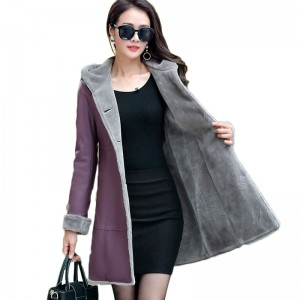 Boutique Women Winter Leather Jacket Fur Together Coats Medium Length Hooded Trench Plus Size Thick Leather Jackets