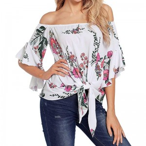 Bowtie Female Blouse shirts casual loose Women Bell Print Sleeve Off Shoulder Front Tie Knot Shirt Tops Blouse
