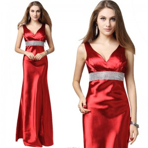 Bright Colorful Floor Length Evening Dress Decorated Crystal Long Party Prom Bride Marriage Dress For Women Thumbnail
