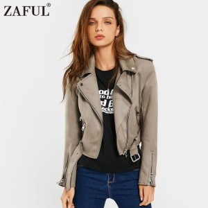 Brown Women Faux Suede Jacket Slim PU Leather Coat Women Short Motorcycle Biker Jacket Lapel Zipper Belted Punk Outwear
