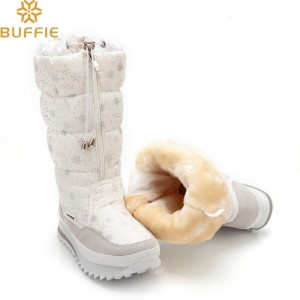 Buffie High Women Snow Boots plush Warm Lady shoe Plus size easy wear zipper up girl white colour flower warm boot