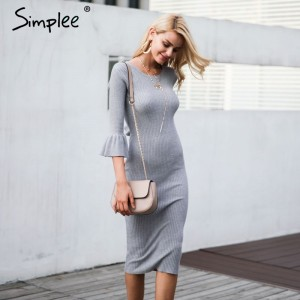 Butterfly sleeve knitting sweater dress women Sexy autumn winter dress Bodycon elastic soft dress vestidos de fiesta