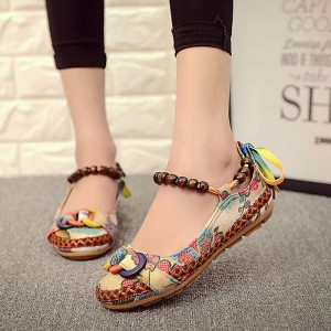 Casual Flat Shoes Handmade Ankle Strap Zapatos Ethnic New Design Women Thumbnail
