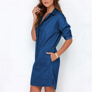 Causal Women Denim Shirt Dress Summer Irregular shirt dress Long Sleeve Sexy Mini Dress Casual Loose Jean Dresses