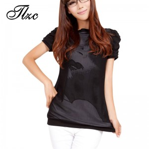 Cheap Korean Casual T Shirts Plus Size Printed Pattern Puff Sleeve Solid Black Cotton Tops And Tees Women Thumbnail