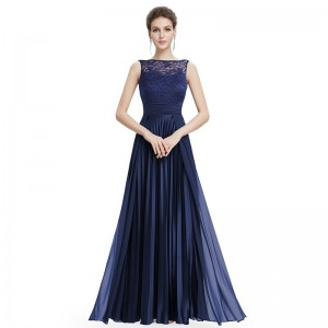 Cheap Prom Dresses Long Navy Blue A Line Lace Sleeveless Round Neck Prom Long Elegant Dresses for Wedding Guest