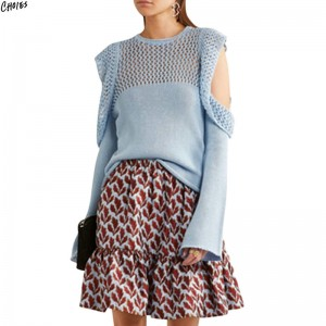 Cold Shoulder Jumper Frill Trim Mesh Stitch Knitted Sweater Women Hollow Out Long Round Neck High Street Pullover