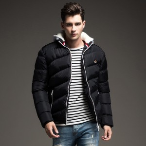 Contrast Color Winter Jackets Parka Fur Hood Winter Casual Coat For Men