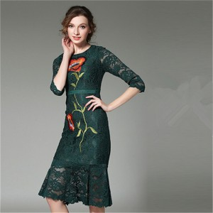 Dark Green Black Lace Three Quarter Sleeves Mermaid Cocktail Dresses Embroidery Party Dress Female Formal Dress