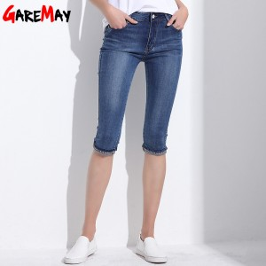 Denim Capri Skinny Jeans Woman Stretch High Waist Jeans Plus Size Short Denim Pants For Women Summer Clothing