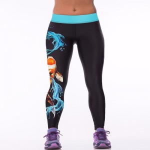 dragon fish 3D print sportswear leggings high elastic quality slim fitness jeggings Polyester outwear workout pants