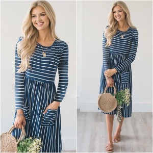 Dress Women Spring 2019 Striped Beach Summer Dresses Casual Long Sleeve Midi Dress With Pockets Women Robe