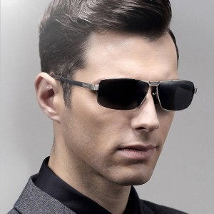 Driving Fishing Outdoor Sunglasses For Men Strong Anti Ultraviolet Rectangle Alloy Frame Eyewear For Boys